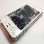 white iPhone cracked screen